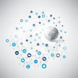 Internet van Dingen, Wolk het Concept van het Gegevensverwerkingsontwerp met Pictogrammen - Digitaal Netwerkverbindingen, Technol Stock Afbeelding