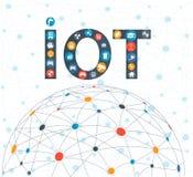 Internet van dingenconcept en Wolk gegevensverwerkingstechnologie vector illustratie