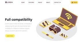 Internet van het malplaatje van het dingenlandingspagina Volledige verenigbaarheid, ontvankelijk ontwerp, de wolken gegevens verw royalty-vrije illustratie