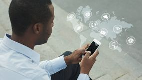 Internet van het woorddiagram van IoT van de dingentechnologie als concept stock foto's