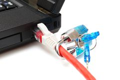 Internet-veiligheid en het concept van de netwerkbescherming, hangslot en mede Royalty-vrije Stock Foto