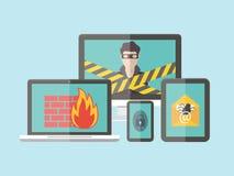 Internet-veiligheid, hakker, virusbescherming en Royalty-vrije Stock Foto's