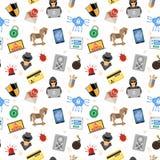Internet-Veiligheids Naadloos Patroon Stock Afbeeldingen
