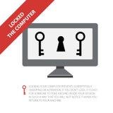 Internet-veiligheidsconcept, gesloten computer Stock Foto
