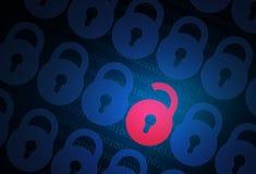 Internet-veiligheidsconcept met slot stock fotografie
