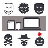 Internet-Verbrechen und anonymer Maskenikonensatz vektor abbildung