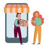 INTERNET-VERKAUF Geschäfts-Vektor-Illustrations-Satz lustloser Börse lizenzfreie abbildung
