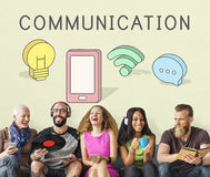 Internet-Vernetzungs-Verbindungs-Kommunikations-Ikonen-Konzept Lizenzfreie Stockfotografie