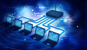 Internet via router on laptops Royalty Free Stock Photo