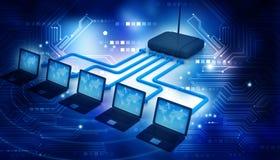 Internet via router on laptops Royalty Free Stock Photo