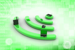 Internet via router on pc, phone, laptop and tablet pc. Royalty Free Stock Photography