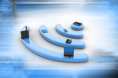 Internet via router on pc. Phone, laptop and tablet pcin attractive background royalty free illustration