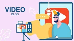 Internet Video Blog, Vlog Flat Color Illustration. Streamer in Sunglasses Cartoon Character. Tablet Screen with Blogger Stream. Man Recording Video on Camera royalty free illustration