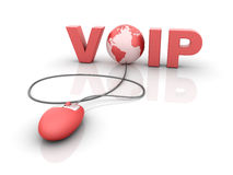 Internet VOIP -  Voice over IP. Three dimensional illustration of Red mouse attached to Voip word and Globe World, on white background Stock Photo