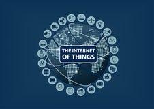Internet von Sachen (IoT) Wort und Ikonen mit Kugel und Weltkarte Lizenzfreie Stockbilder