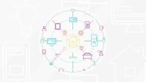 Internet von Sachen und von intelligentem Hauptkonzept 4K lizenzfreie abbildung