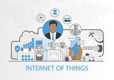 Internet von Sachen vector Hintergrund mit Geschäftsmann und Ikonen von verbundenen Geräten Stockbilder