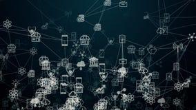 Internet von Sachen, von Wolkentechnologie und von Datenverarbeitung stock abbildung