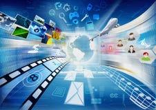 Internet voor Delen het Van verschillende media Stock Fotografie