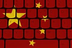 Internet w Chiny, komputerowa klawiatura z Chińską flaga obrazy royalty free