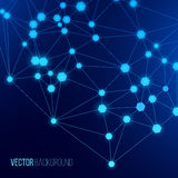 Internet web background. Glowing cellular connection on a blue background Stock Images