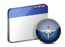 Internet web browser concept with compass Royalty Free Stock Photos