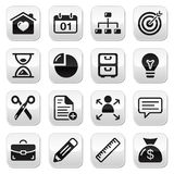 Internet web buttons set. Website navigation balck icons on glossy square buttons Royalty Free Stock Photography