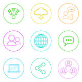 Internet Web Communication Thin Line Simple Icons Royalty Free Stock Image