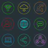 Internet Web Communication Thin Line Simple Icons Royalty Free Stock Photo