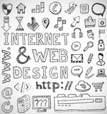 Internet and web design hand drawn doodles Stock Photo