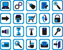 Internet and web icons. Set of internet and web icons in black blue and white Stock Image