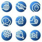 Internet web icons. Vector web icons, blue circle series
