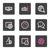 Internet web icons. Vector web icons, grey square buttons series Royalty Free Stock Image