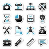 Internet, web icons as labels. Navigation black and blue badges Stock Photos