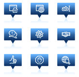 Internet web icons, blue speech bubbles series Stock Images