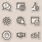 Internet web icons, brown contour sticker series Royalty Free Stock Images