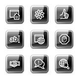 Internet web icons, glossy buttons series. Internet web icons, black square glossy buttons series Royalty Free Stock Photography
