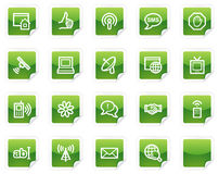 Internet web icons, green sticker series. Vector web icons, green sticker series vector illustration