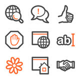 Internet web icons, orange and gray contour. Vector web icons, orange and gray contour series