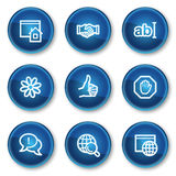 Internet web icons set 1, blue circle buttons. Vector web icons set. Easy to edit, scale and colorize royalty free illustration