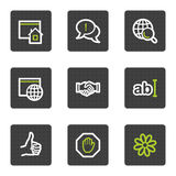 Internet web icons set 1, grey square buttons Royalty Free Stock Photos