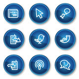Internet web icons set 2, blue circle buttons Stock Photo