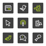 Internet web icons set 2, grey square buttons. Vector web icons set. Easy to edit, scale and colorize stock illustration