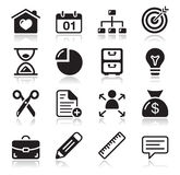 Internet web icons set. Website navigation black clean shiny icons set Stock Photos