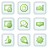 Internet web icons, white square buttons series Stock Images