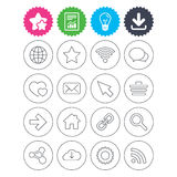 Internet and Web icons. Wi-fi, favorite star. Stock Photo