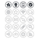 Internet and Web icons. Wi-fi, favorite star. Royalty Free Stock Image