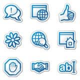 Internet-Web-Ikonen, blaue Formaufkleberserie Stockbilder