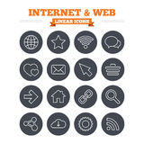Internet and Web linear icons set. Thin outline Stock Images