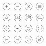 Internet-Web mobiel met de pictogrammen witte achtergrond van de cirkellijn Stock Afbeelding